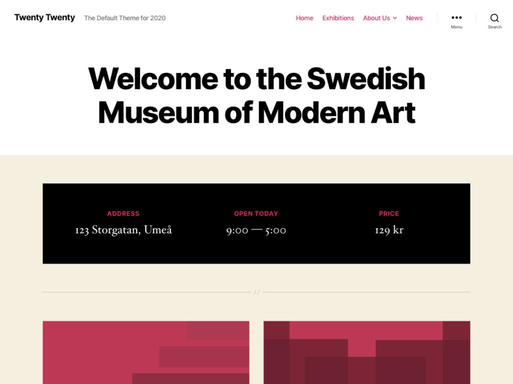 Skärmbild av temat Twenty Twenty i vitt, beige, svart och rött