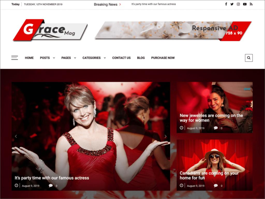 Skärmdump av Grace Mag, ett magasintema i vitt och rött.