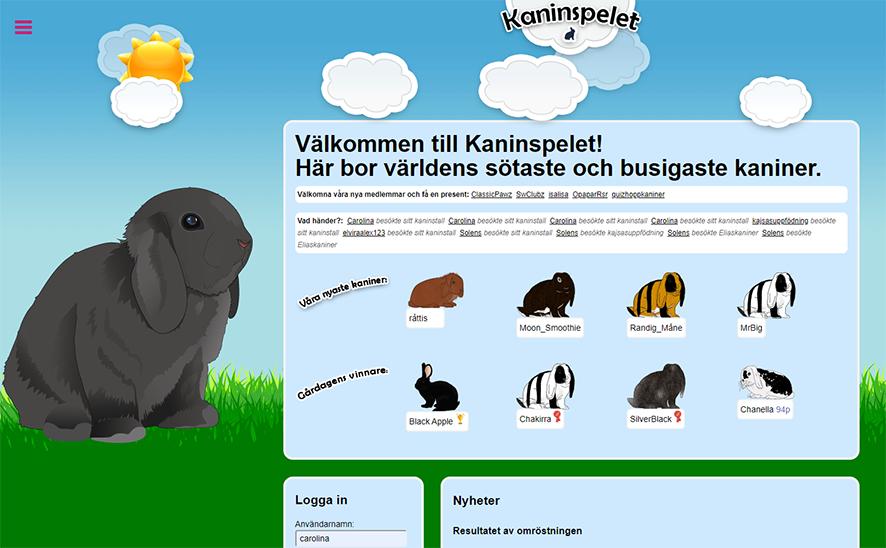 En skärmbild från kaninspelet.se. Bilden föreställer en tecknad kanin som sitter i gräset under en blå himmel med moln.