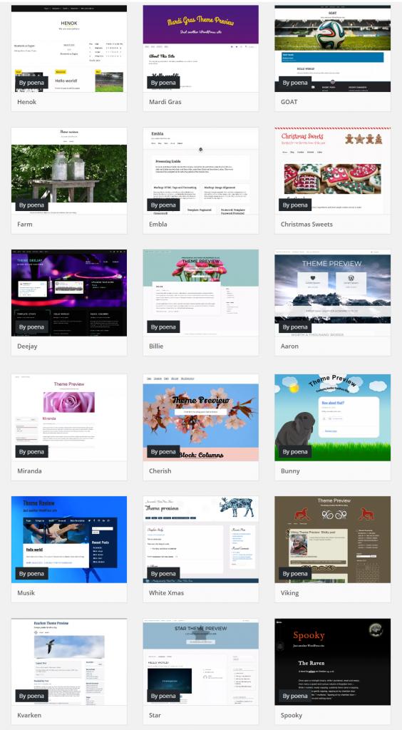 En lista på skärmbilder på WordPress teman.