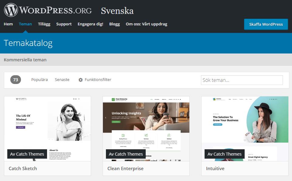 En skärmbild av den svenska temakatalogen på WordPress.org